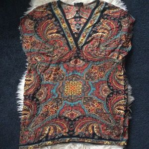 Angie hippie boho paisley v neck tunic rayon top